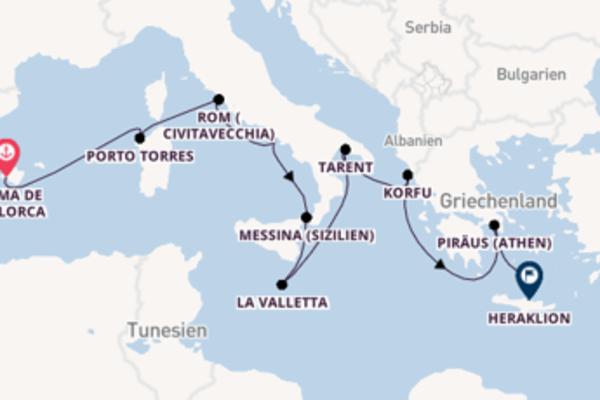 Palma de Mallorca und Civitavecchia bereisen