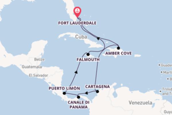 Navigando da Fort Lauderdale verso Cartagena