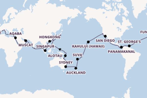 Weltreise mit MSC: 33 Länder in 119 Tagen