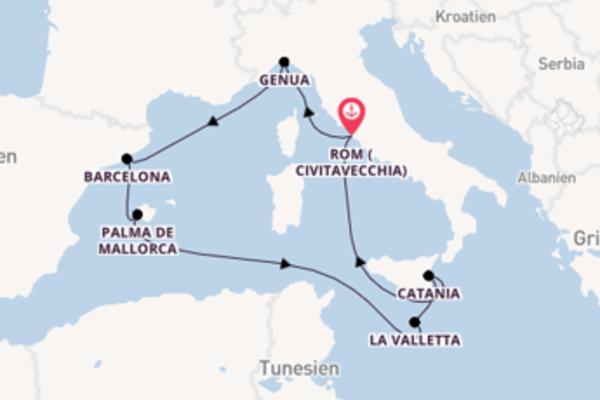 8-tägige Kreuzfahrt bis Civitavecchia