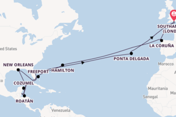 36 day cruise from Southampton (London)