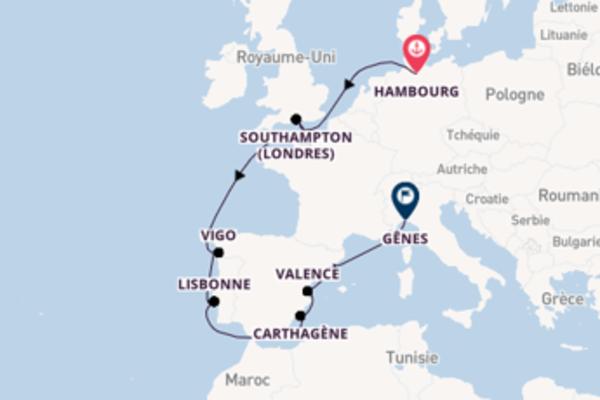 Southampton (Londres) depuis Hambourg pour une croisière de 12 jours