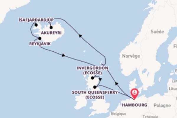 Akureyri, depuis Hambourg à bord du bateau MSC Preziosa