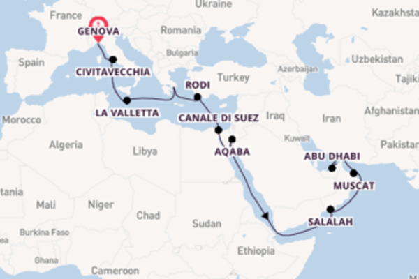 Crociera da Genova verso Aqaba