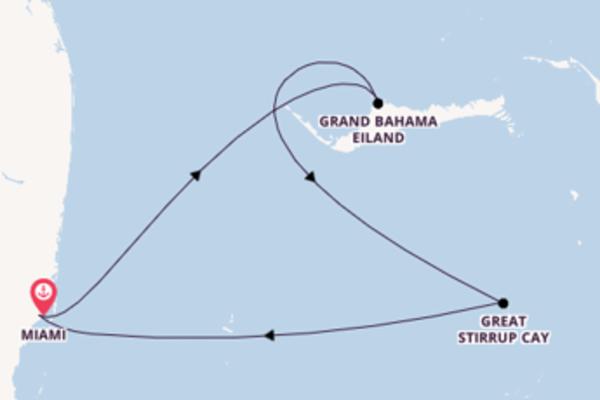 Bewonder het prachtige Great Stirrup Cay in 4 dagen