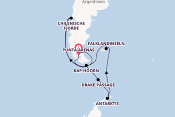 Kreuzfahrt mit der Roald Amundsen nach Punta Arenas, Chile