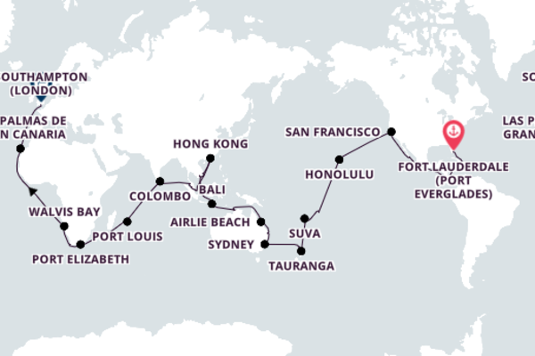 Around-the-World Cruise from Fort Lauderdale