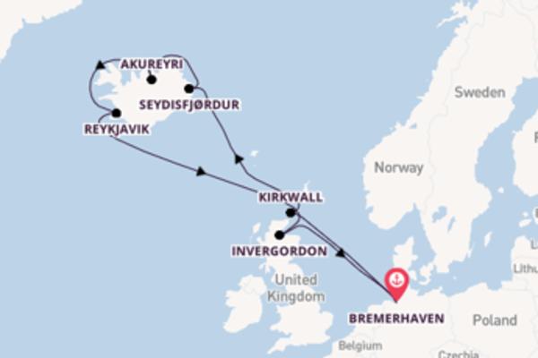 Vanuit Bremerhaven op avontuur naar IJsland en Schotland