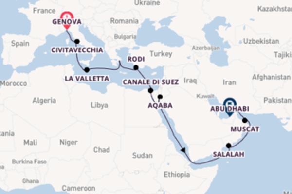 19 giorni di crociera fino a Abu Dhabi