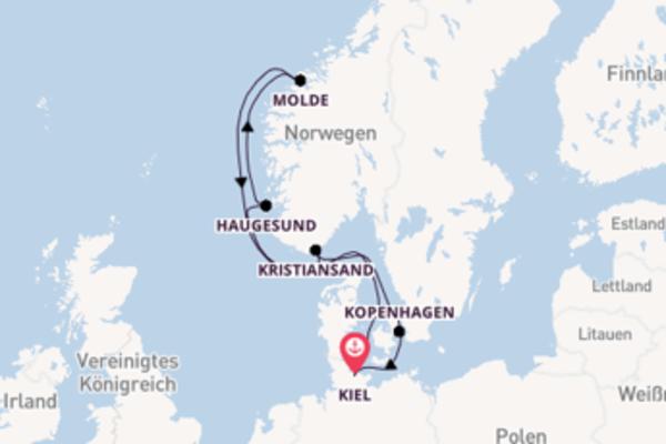 Eindrucksvolle Kreuzfahrt über Haugesund ab Kiel