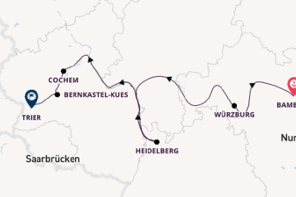 Journey from Bamberg to Trier via Cochem