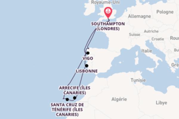 Santa Cruz de Ténérife (Îles Canaries), depuis Southampton (Londres) à bord du bateau Arcadia