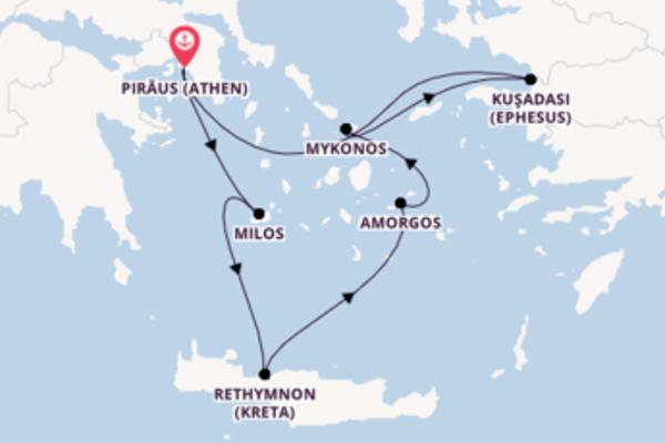 In 8 Tagen nach Piräus (Athen), Griechenland über Rethymnon (Kreta), Griechenland