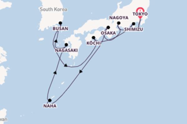 13 giorni di crociera fino a Tokyo