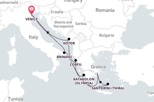 Stunning Santorini from Venice with MSC Musica