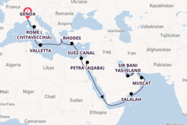 26 day cruise to Doha from Genoa