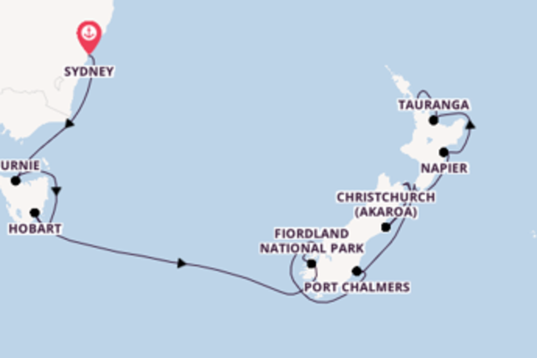 15 day journey from Sydney to Auckland