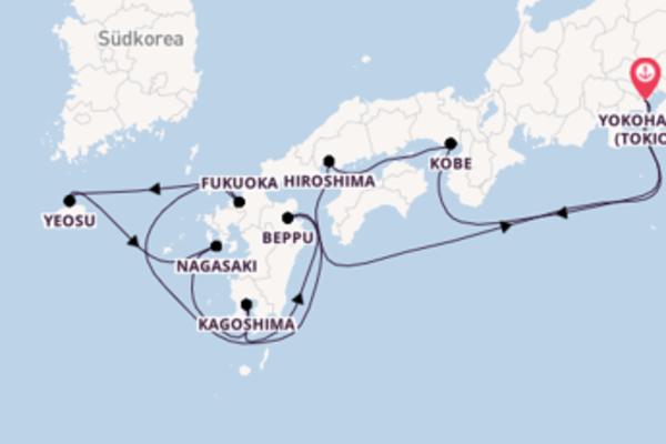 Von Yokohama (Tokio) über Kagoshima in 11 Tagen