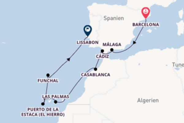 13-tägige Kreuzfahrt bis Lissabon