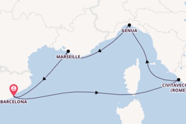 Cruise in 6 dagen naar Barcelona met MSC Cruises