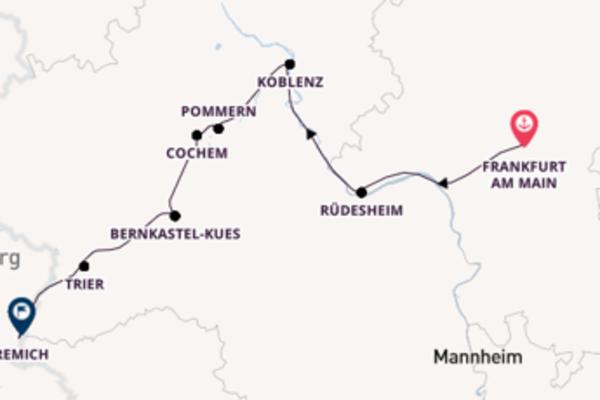 Kreuzfahrt mit Leonardo de Vinci von Frankfurt am Main nach Remich