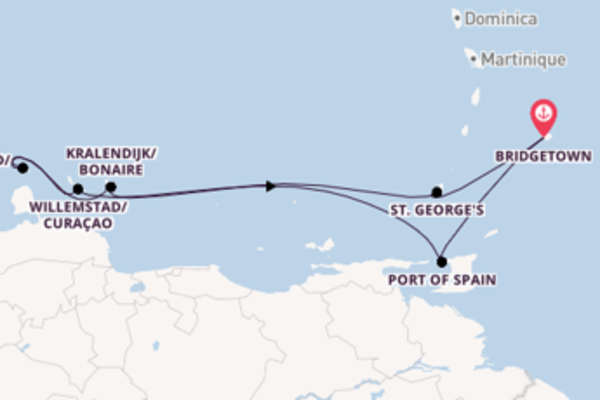 8 day voyage on board the Grandeur of the Seas from Bridgetown