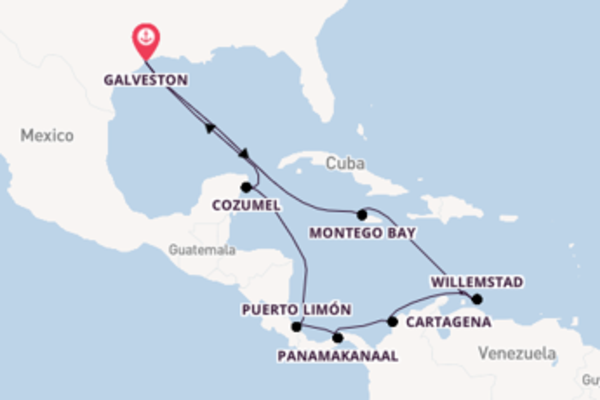 Cruise in 15 dagen naar Galveston met Carnival Cruise Line