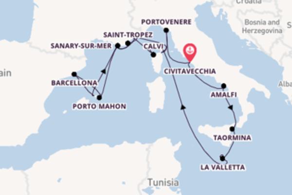 Navigando da Civitavecchia verso Mgarr