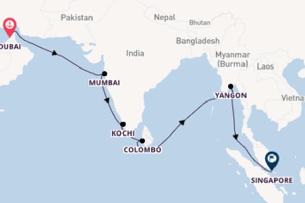 Navigando da Dubai verso Singapore