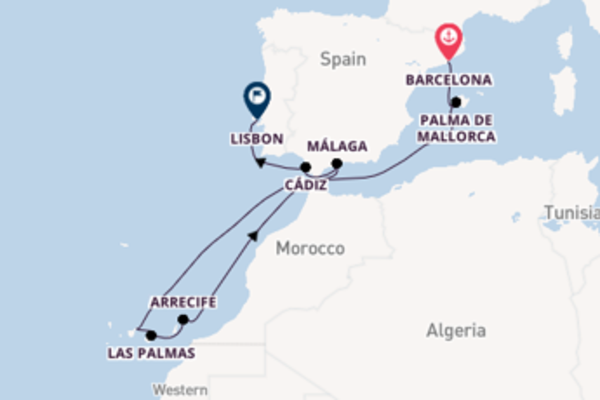 Journey with the Celebrity Infinity to Lisbon from Barcelona