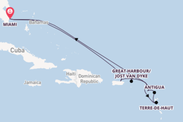 Cruise naar Miami via Gustavia