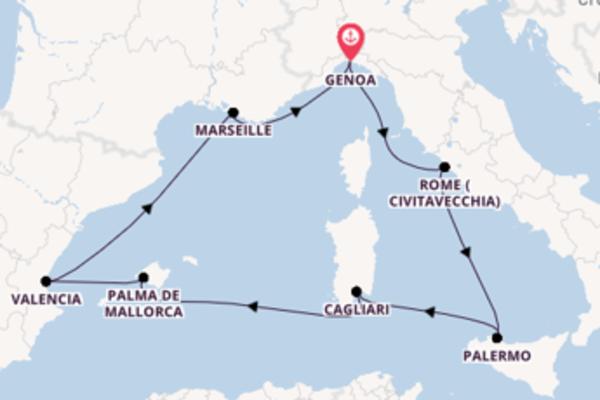 Sailing from Genoa via Cagliari