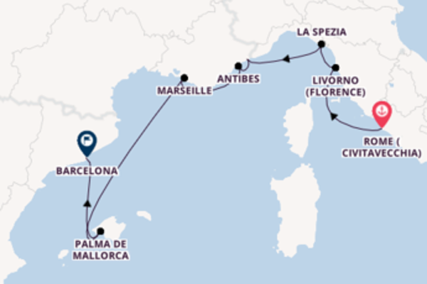 Expedition with the Riviera to Barcelona from Rome (Civitavecchia)