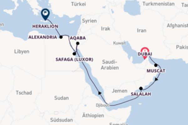 Wunderschöne Kreuzfahrt über Aqaba nach Heraklion