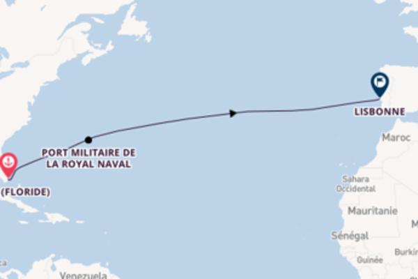 Contemplez à bord du bateau Riviera, la destination: Port militaire de la Royal Naval