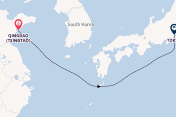 Salpando i mari da Qingdao (Tsingtao)