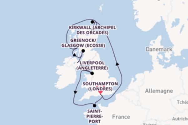 Liverpool (Angleterre), depuis Southampton (Londres) à bord du bateau Arcadia