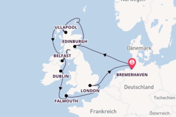 Bremerhaven, Deutschland und Dublin, Irland genießen