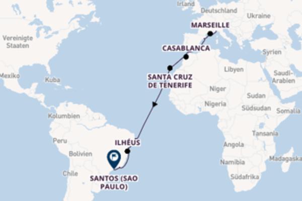 In 18 Tagen nach Santos (Sao Paulo) über Recife