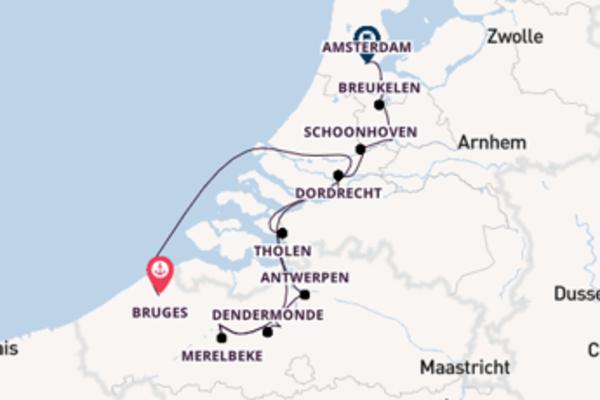 In 7 Tagen nach Amsterdam, Niederlande über Merelbeke, Belgien
