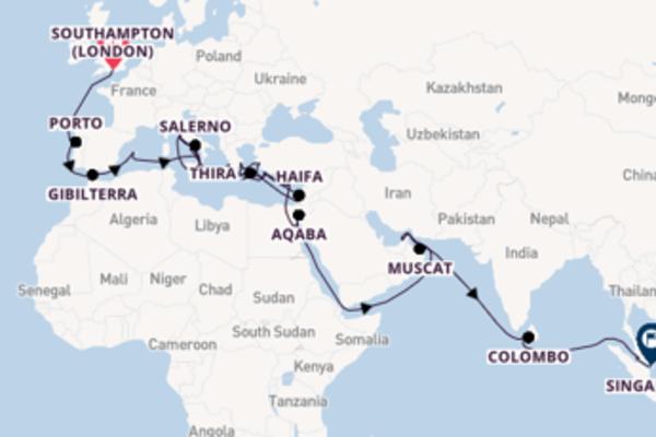 Navigando verso Singapore passando per il Mediterraneo