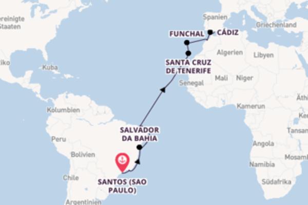 17-tägige Kreuzfahrt von Santos (Sao Paulo) nach Málaga