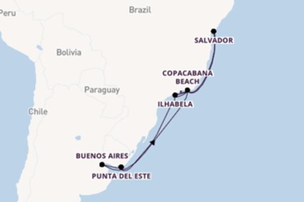 16 giorni di crociera fino a Rio de Janeiro