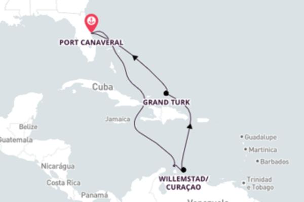 Caribe saindo de Port Canaveral com o Carnival Radiance