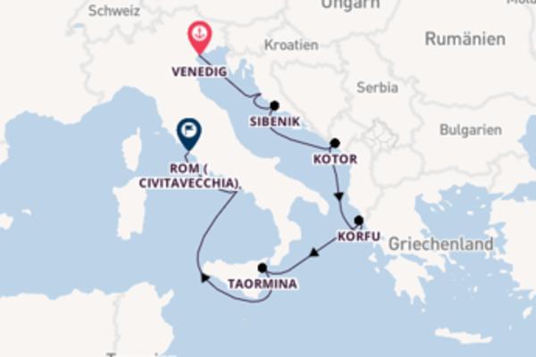 Wunderbare Kreuzfahrt über Kotor nach Civitavecchia (Rom)