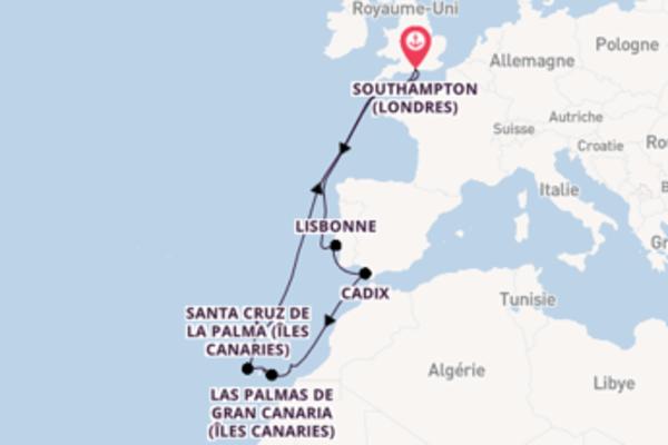 15 jours pour découvrir Arrecife (Îles Canaries) au départ de Southampton (Londres)