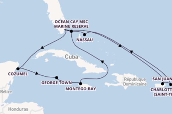 15 jours pour découvrir Nassau à bord du beateau MSC Meraviglia