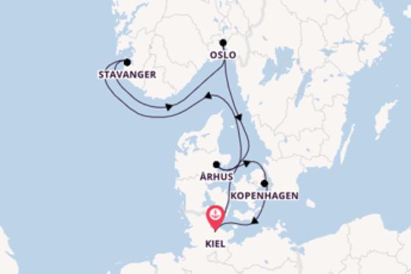Cruise via Århus en Kopenhagen naar Noorwegen