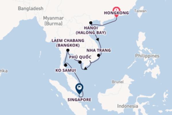 18daagse cruise vanaf Hongkong naar Singapore