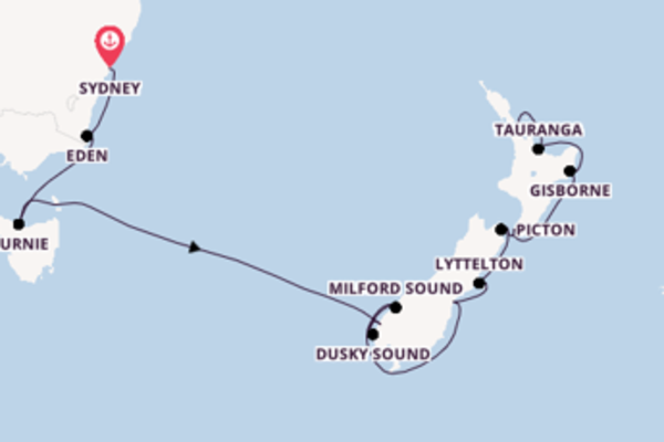 13 day cruise to Auckland from Sydney